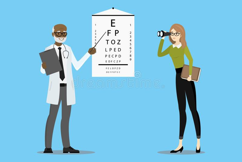 L'oculista di medico controlla la visione illustrazione vettoriale
