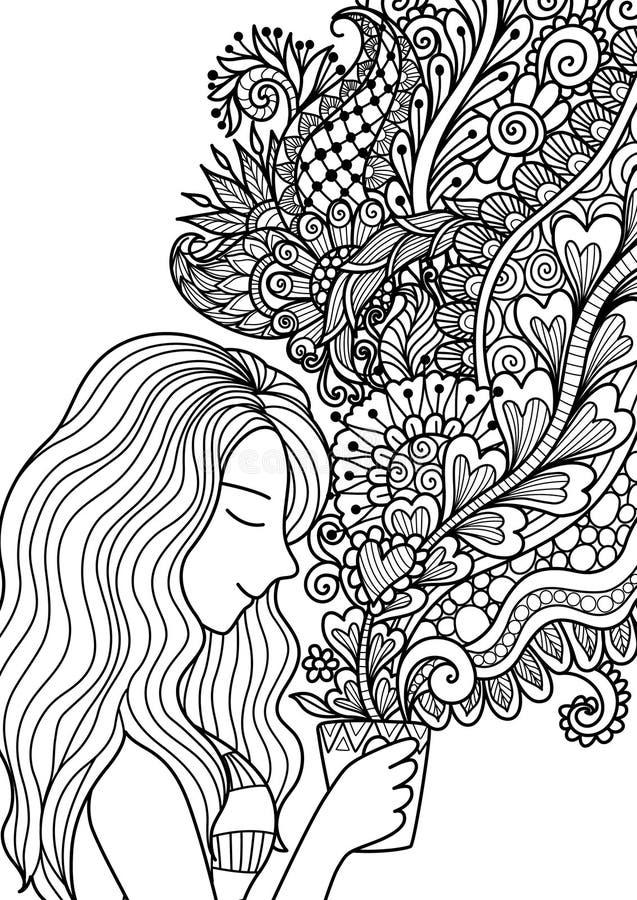 L'odore grazioso della ragazza il fumo floreale del caffè per l'elemento di progettazione e l'adulto o il libro da colorare dei b royalty illustrazione gratis