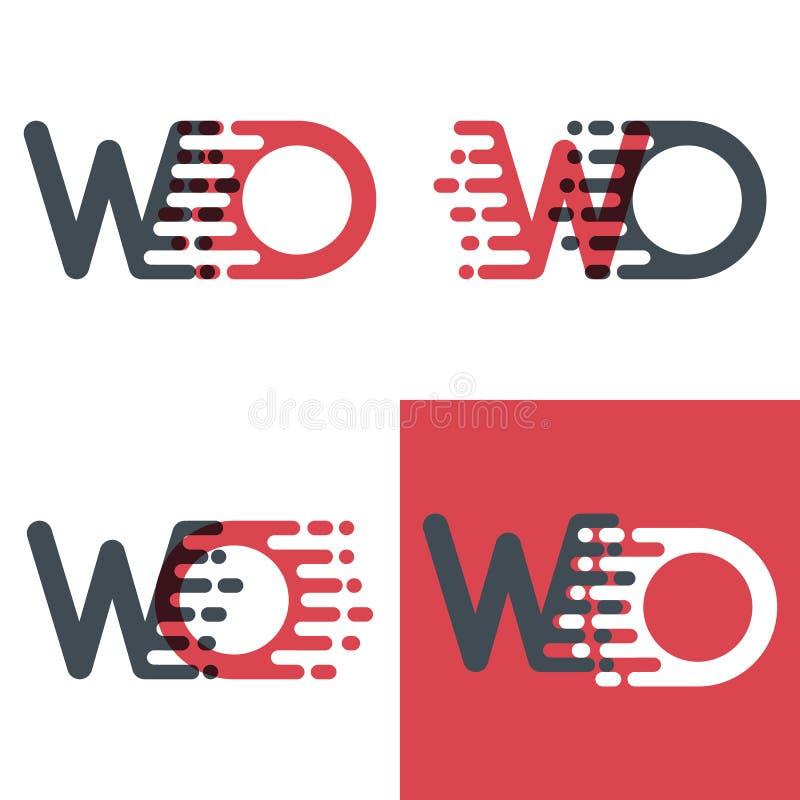 L'OE marque avec des lettres le logo avec le rose de vitesse d'accent et gris-foncé illustration stock