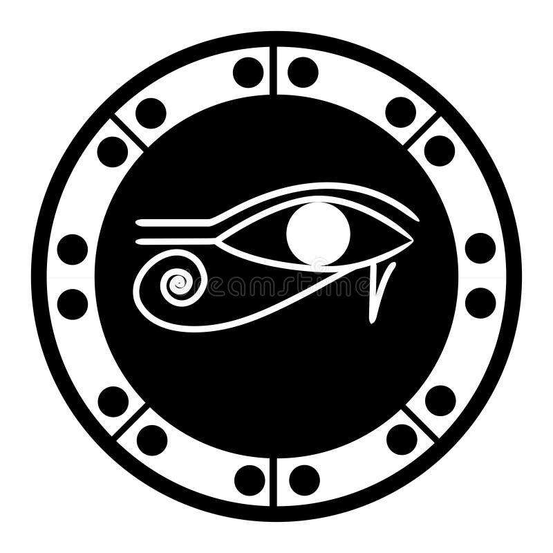 L'oeil égyptien antique d'amulette d'hiéroglyphe de Horus a dépeint illustration de vecteur