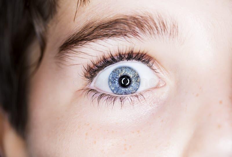 l'oeil bleu du garçon photographie stock