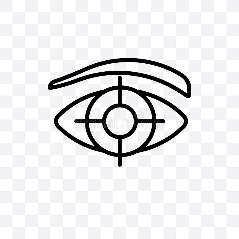 L'oeil dépistant l'icône linéaire de vecteur d'isolement sur le fond transparent, concept de cheminement de transparent d'oeil pe illustration de vecteur
