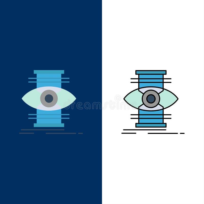 L'oeil, succès, foyer, optimisent des icônes L'appartement et la ligne icône remplie ont placé le fond bleu de vecteur illustration stock