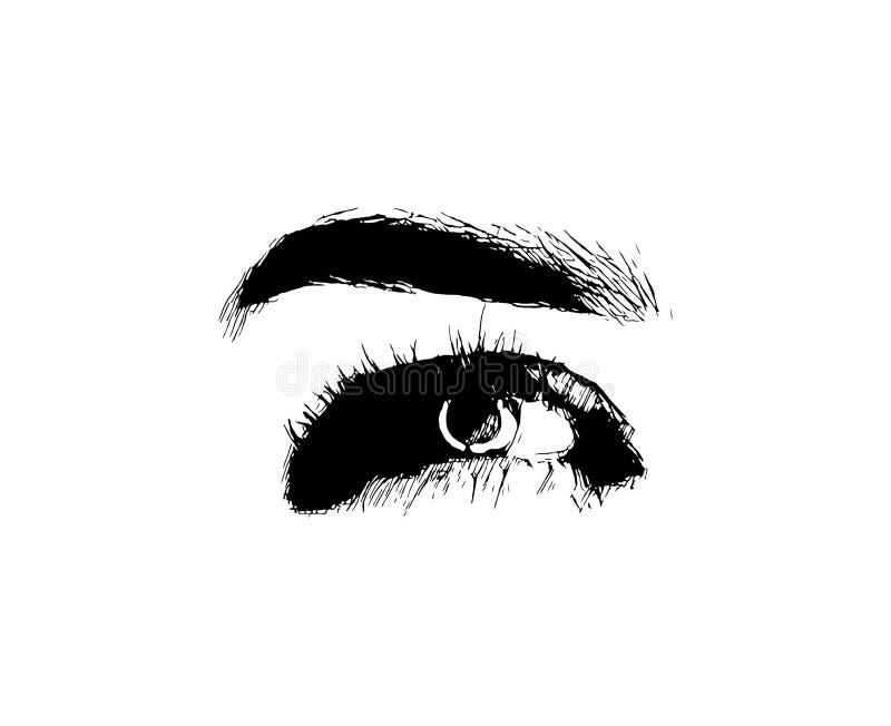 L'oeil tiré par la main de mode de femmes de vecteur composent l'illustration sur le fond blanc illustration de vecteur