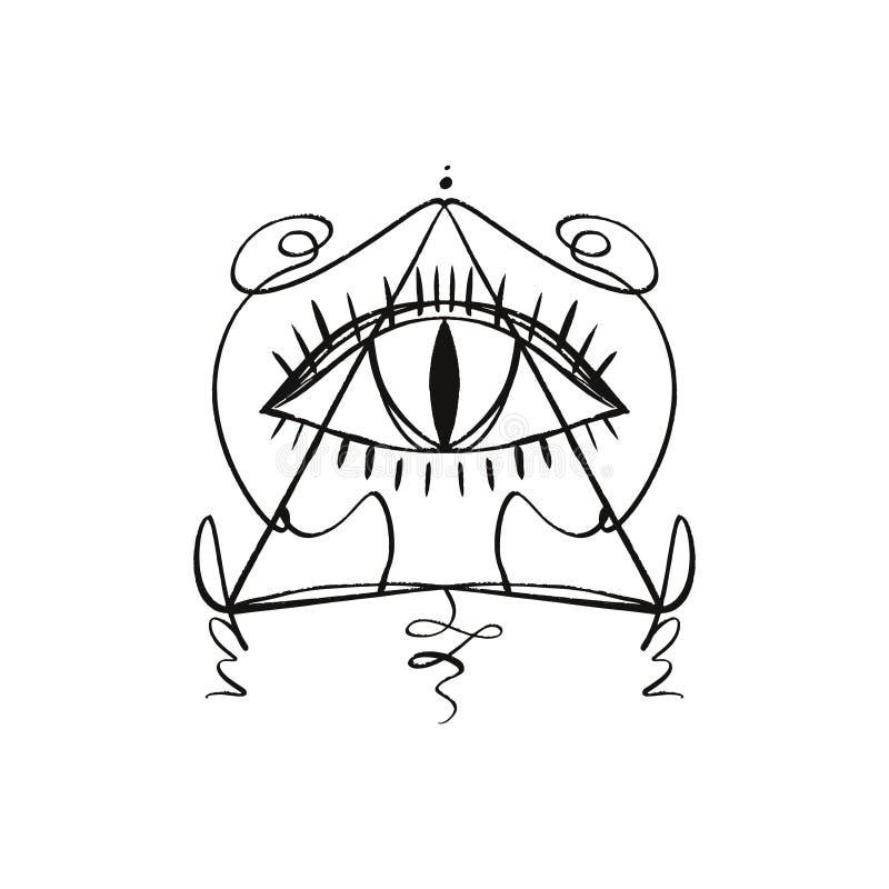 L'oeil tiré par la main de Providence a stylisé le symbole Pyramide de triangle Tatouage ou autocollant de symbole d'alchimie de  illustration libre de droits