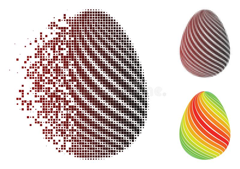 L'oeuf abstrait tramé dispersé de pixel avec la diagonale barre l'icône illustration de vecteur