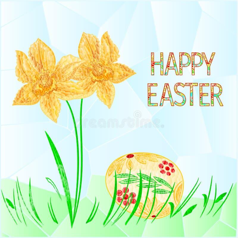 L'oeuf heureux de Pâques pâques avec des polygones de jonquille et d'herbe dirigent l'illustration pour l'usage dans la conceptio illustration libre de droits