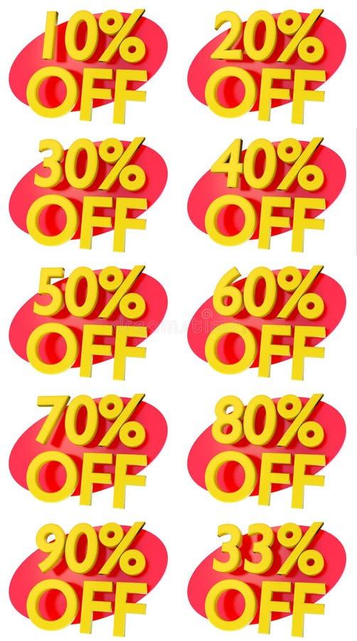 L'offre de promotion de signes de pourcentage à vendre escomptent l'illustration 3D illustration libre de droits
