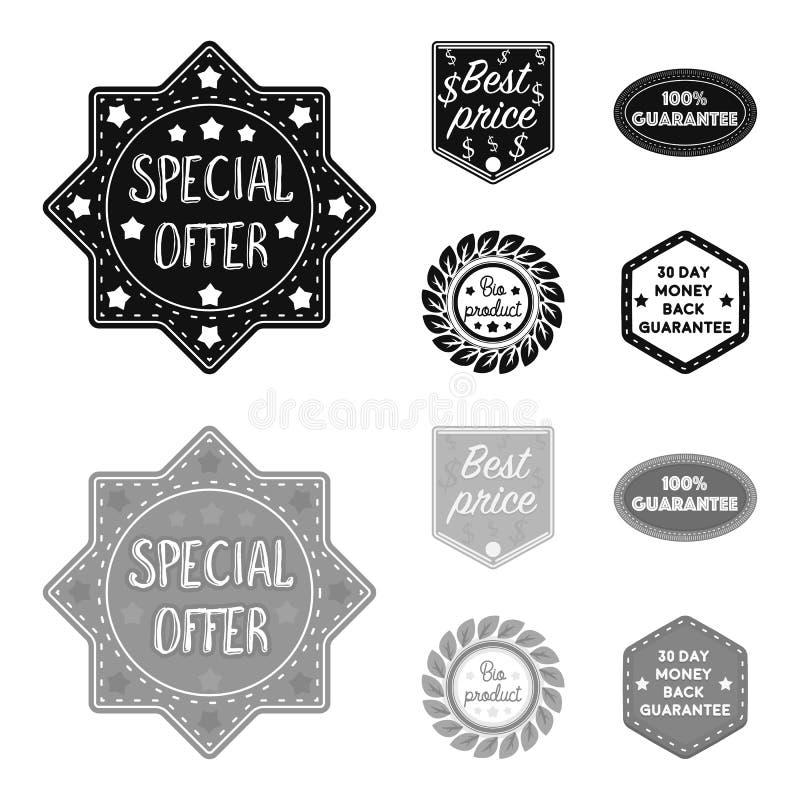 L'offre spéciale, mieux prise, garantissent, bio produit Le label, a placé des icônes de collection dans le symbole noir et monoc illustration de vecteur