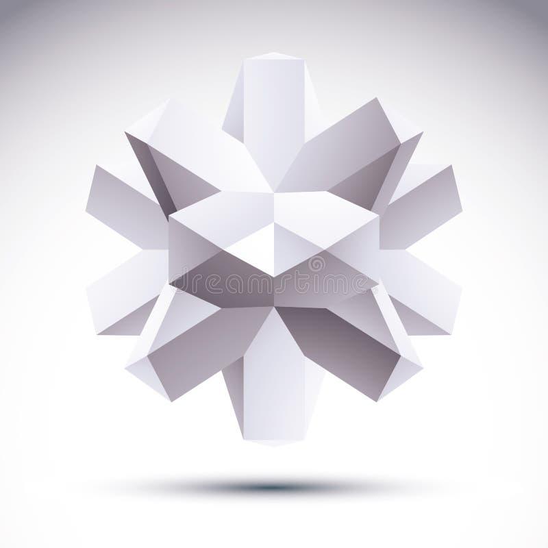 l'oggetto geometrico poligonale 3D, vector l'elemento astratto di progettazione, c illustrazione vettoriale
