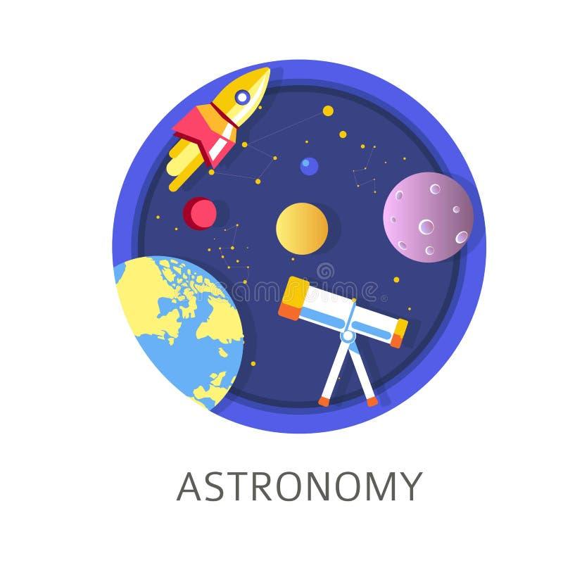 L'oggetto a scuola, disciplina di astronomia con i corpi celesti studia illustrazione vettoriale