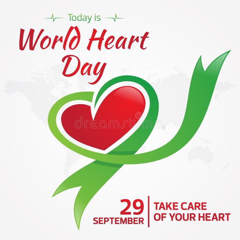 L'oggi è cartolina d'auguri del giorno del cuore del mondo con il nastro grafico del cuore e della mappa illustrazione di stock