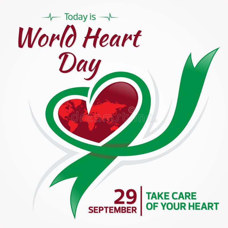L'oggi è mondo cuore il giorno cartolina d'auguri del 29 settembre con cuore ed il nastro grafici royalty illustrazione gratis