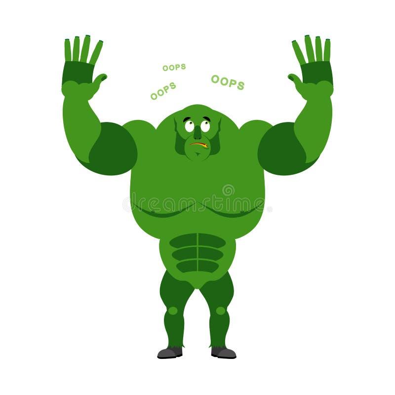 L'ogre étonné indique OH LÀ LÀ ! Lutin perplexe Heurté par Mons vert illustration stock