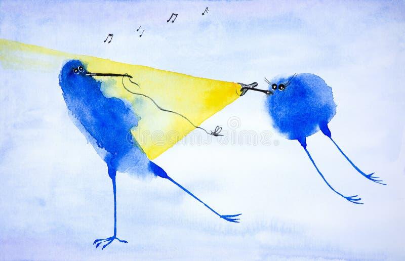 L'oiseau bleu abstrait attrape une mite à la lumière d'une lampe-torche qui brille un autre oiseau Illustration d'aquarelle illustration stock