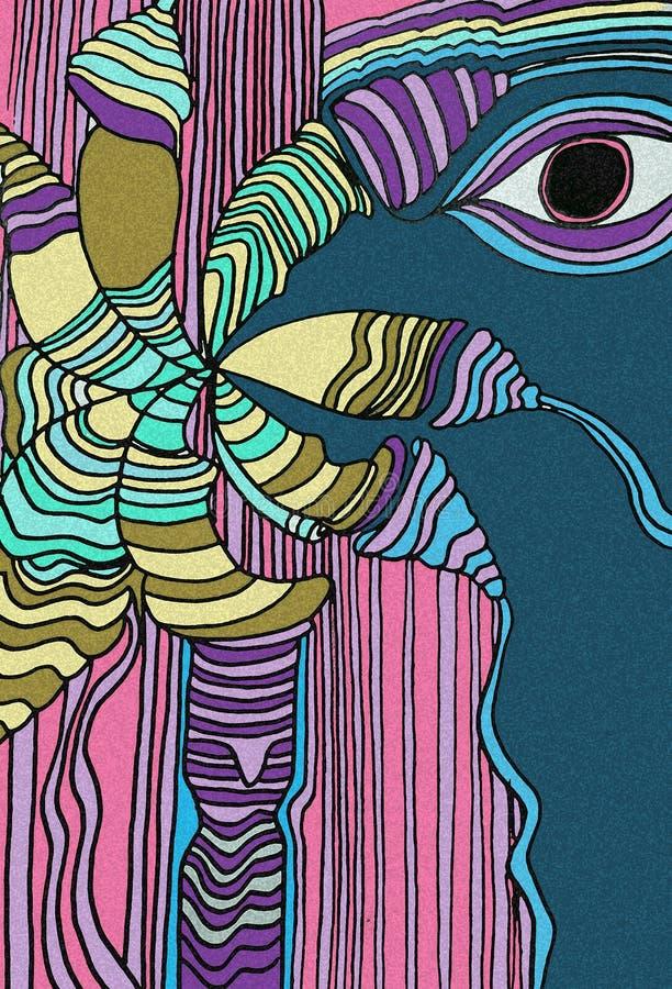 L'oiseau bleu de forêt avec grands yeux Oiseau tropical illustration libre de droits