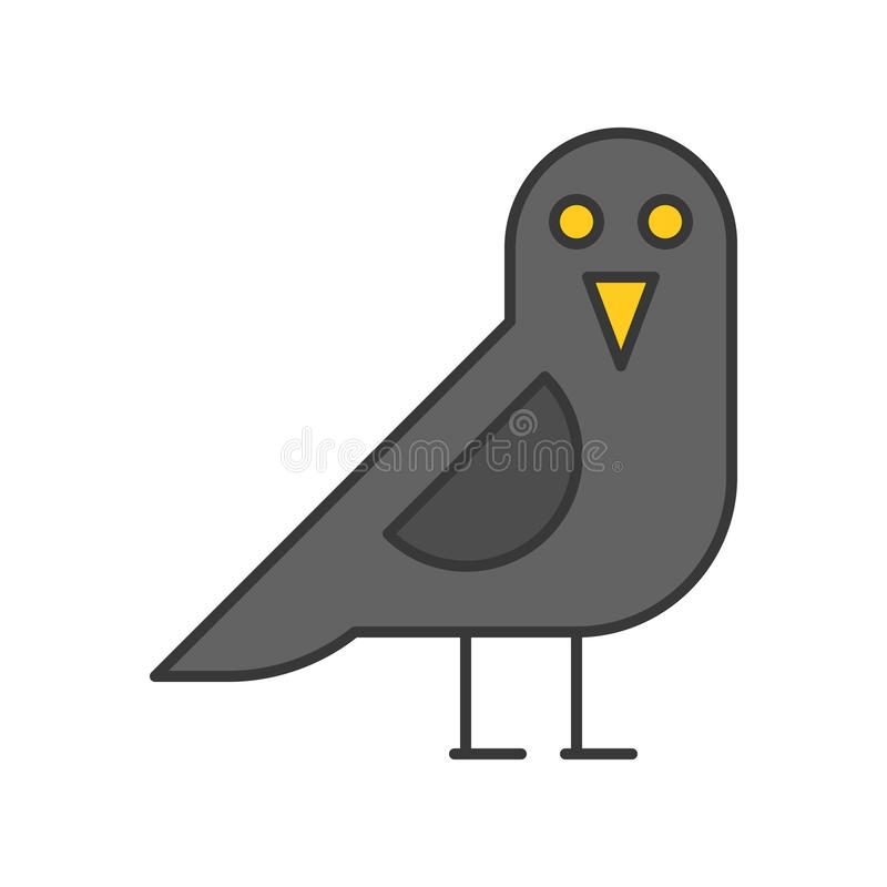 L'oiseau de corneille, Halloween a rapporté l'icône, course editable d'ensemble illustration de vecteur