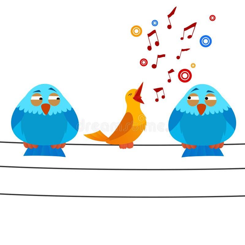 L 39 oiseau de dessin anim se reposant sur le fil avec - Dessin oiseau qui chante ...