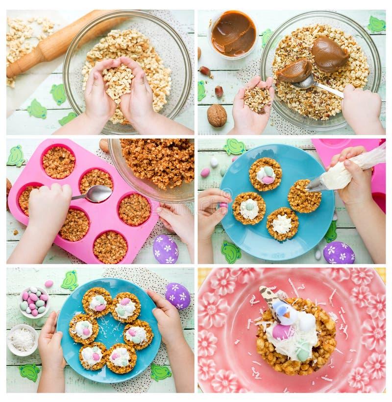 L'oiseau de Pâques niche le biscuit avec des oeufs de sucrerie photos libres de droits