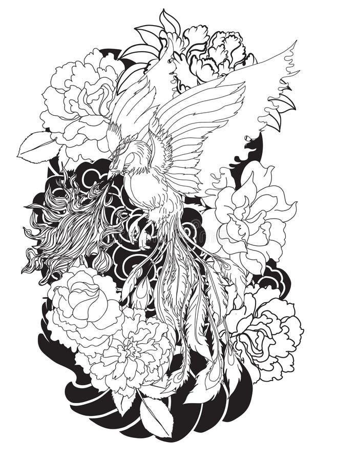 L'oiseau du feu de Phoenix avec la fleur de pivoine et s'est levé sur le fond de nuage et de vague Style tiré par la main de tato illustration libre de droits