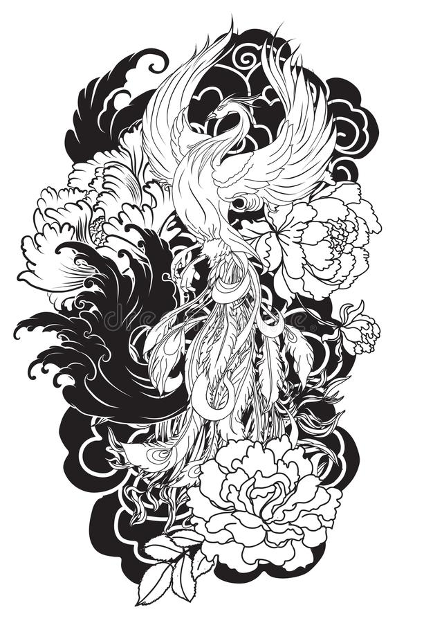 L'oiseau du feu de Phoenix avec la fleur de pivoine et s'est levé sur le fond de nuage et de vague Style tiré par la main de tato illustration stock