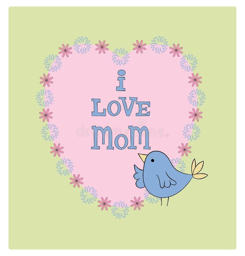 L'oiseau mignon d'illustration du jour de mère avec des pastels de coeur et de fleurs I aiment la maman illustration stock