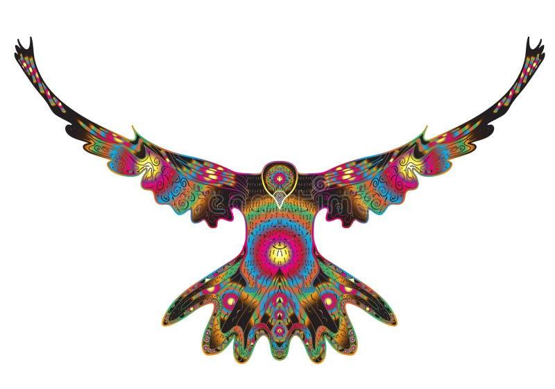 L'oiseau a plongé vol, griffonnage d'aigle, dessin de main, style de griffonnages Colombe dans le style de zentangle Illustration illustration libre de droits
