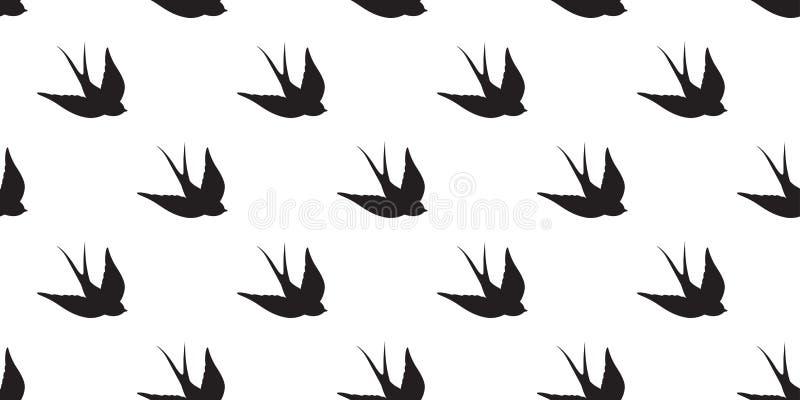 L'oiseau sans couture d'hirondelle de vecteur de modèle d'oiseau de mouette a isolé le fond de papier peint illustration de vecteur