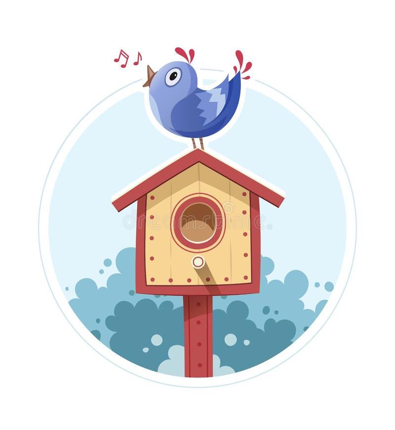 L'oiseau se reposent et chantent sur le pondoir illustration de vecteur