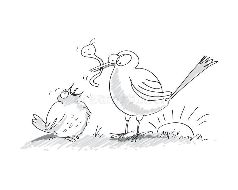 L'oiseau tôt attrape le ver de terre illustration libre de droits