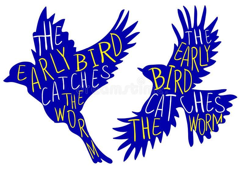 L'oiseau tôt attrape le ver de terre Proverbe écrit par main, oiseau de VECTEUR Mots d'oiseau, jaunes et blancs bleus illustration stock