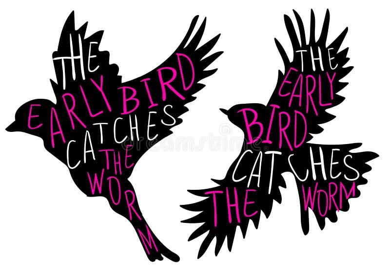 L'oiseau tôt attrape le ver de terre Proverbe écrit par main, oiseau de VECTEUR Mots d'oiseau, magenta et blancs noirs illustration libre de droits
