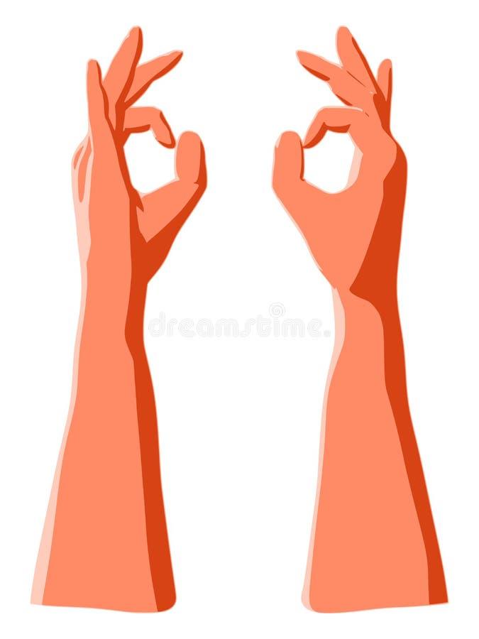 L'ok chantent par des doigts font des gestes comme symbole d'accord de succès ou d'approbation illustration libre de droits