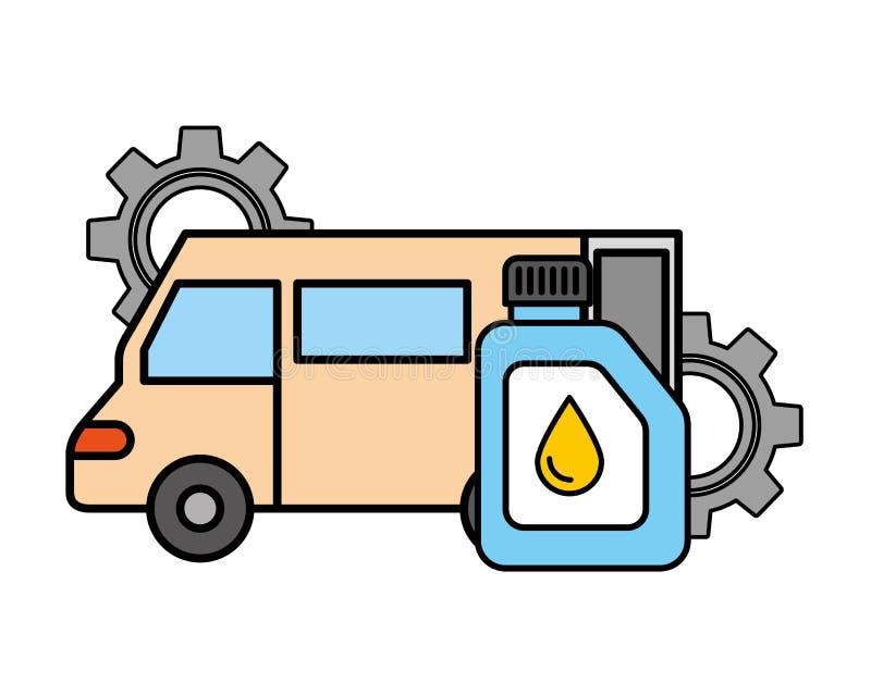 L'olio di gallone del veicolo del camion innesta il servizio automobilistico royalty illustrazione gratis