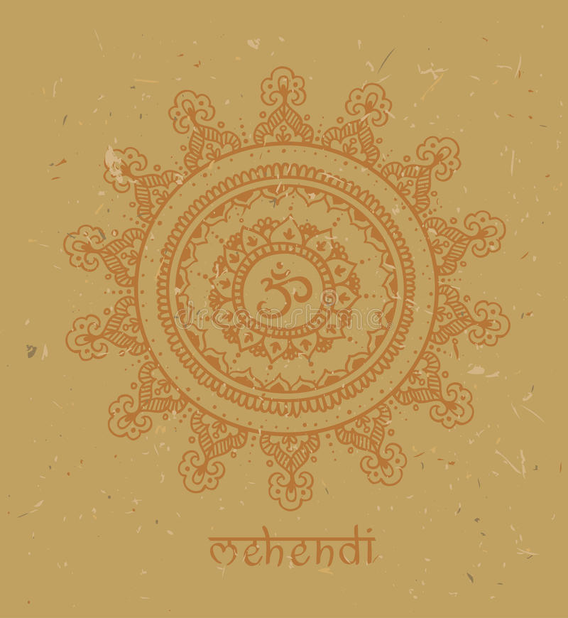 L'OM - illustration, d'isolement sur un fond de carton Griffonnages de zen avec le texte - mehendi illustration de vecteur
