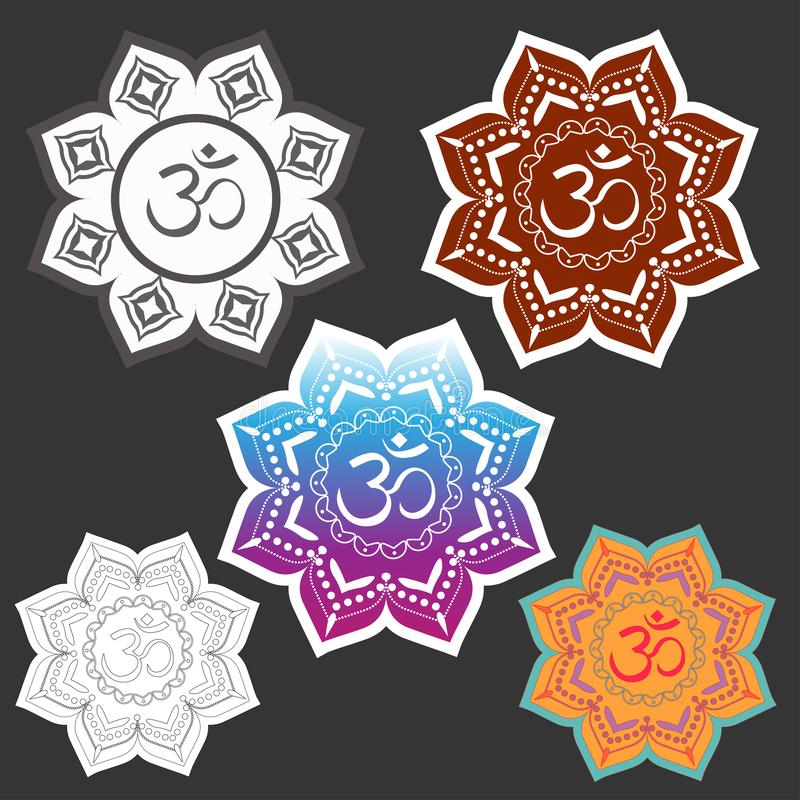 L'OM signent dedans le halo géométrique mandala Diverses options Retrait de vecteur illustration stock