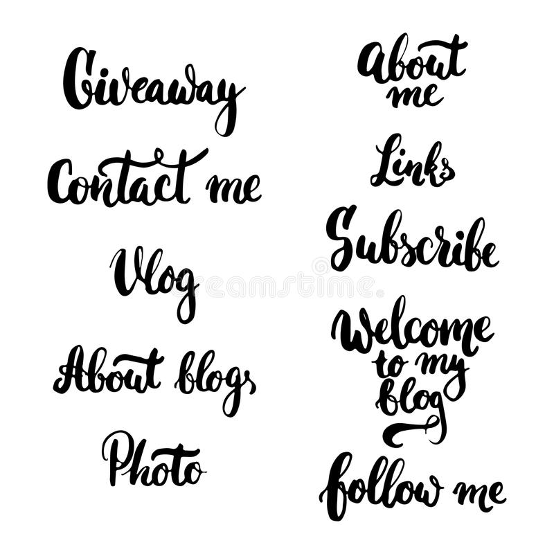 L'omaggio disegnato a mano di frase dell'iscrizione di tipografia, la foto, Vlog, mi contatta, mi segue, circa il blog, sottoscri illustrazione vettoriale