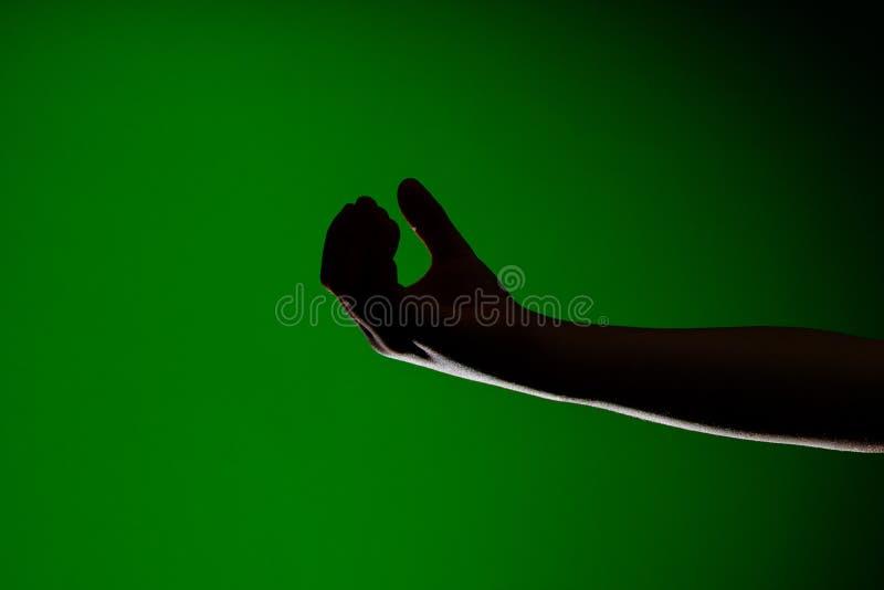 L'ombra della mano è isolata su un fondo verde, che simbolizza la povertà e la supplica immagini stock libere da diritti