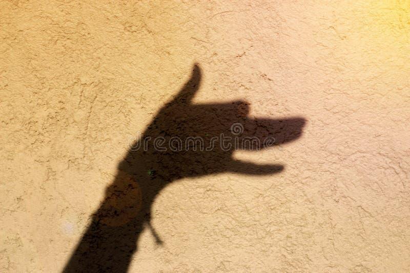 L'ombre de main ressemble à un écorcement de chien image stock