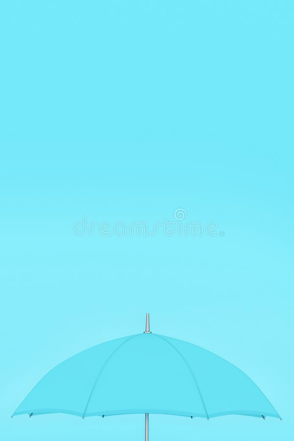 L'ombrello aperto blu-chiaro sul fondo degli azzurri, spazio della copia, si mescola nel concetto, il manifesto verticale del tab illustrazione di stock