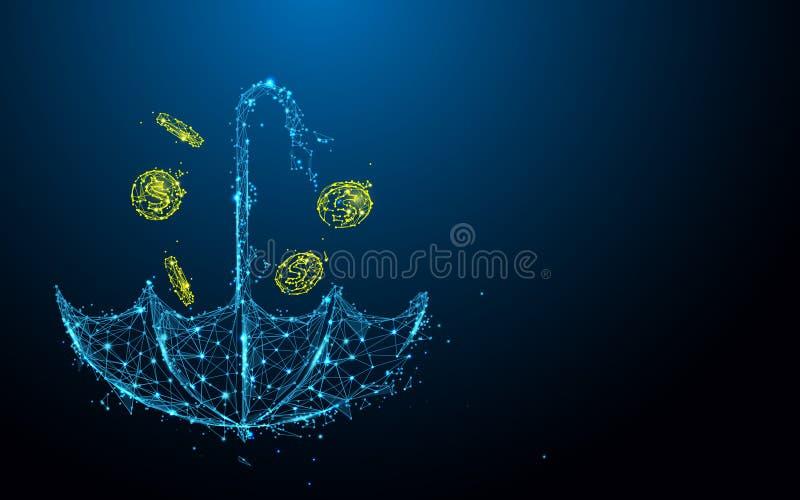 L'ombrello con le linee della forma della pioggia dei soldi, triangoli e stile della particella progetta illustrazione vettoriale