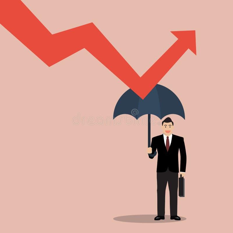 L'ombrello della tenuta dell'uomo d'affari protegge il grafico giù royalty illustrazione gratis