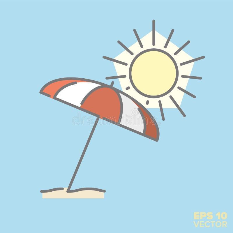L'ombrello ed il sole di spiaggia allineano l'icona con riempimento di colore pastello illustrazione di stock