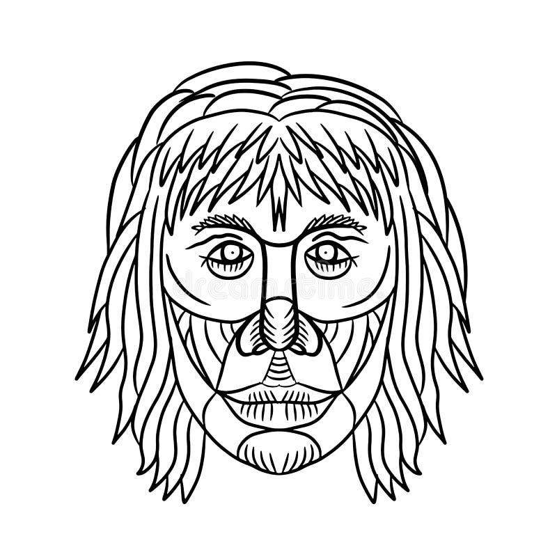 L'omo Habilis affronta Front Drawing royalty illustrazione gratis