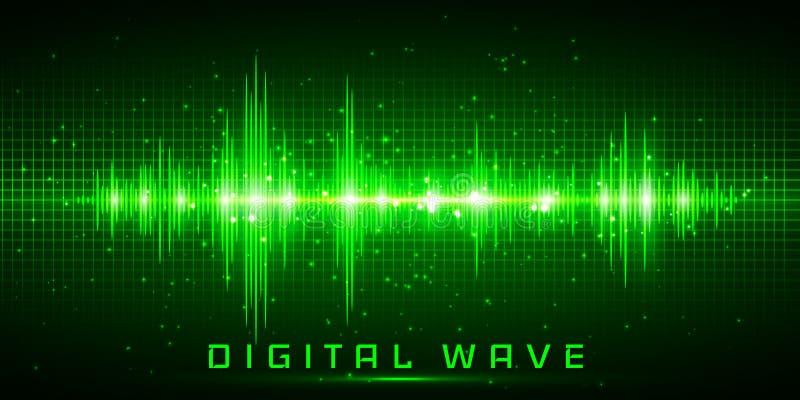 L'onda di Digital, incandescenza d'oscillazione delle onde sonore si accende, fondo astratto della tecnologia - vettore illustrazione vettoriale