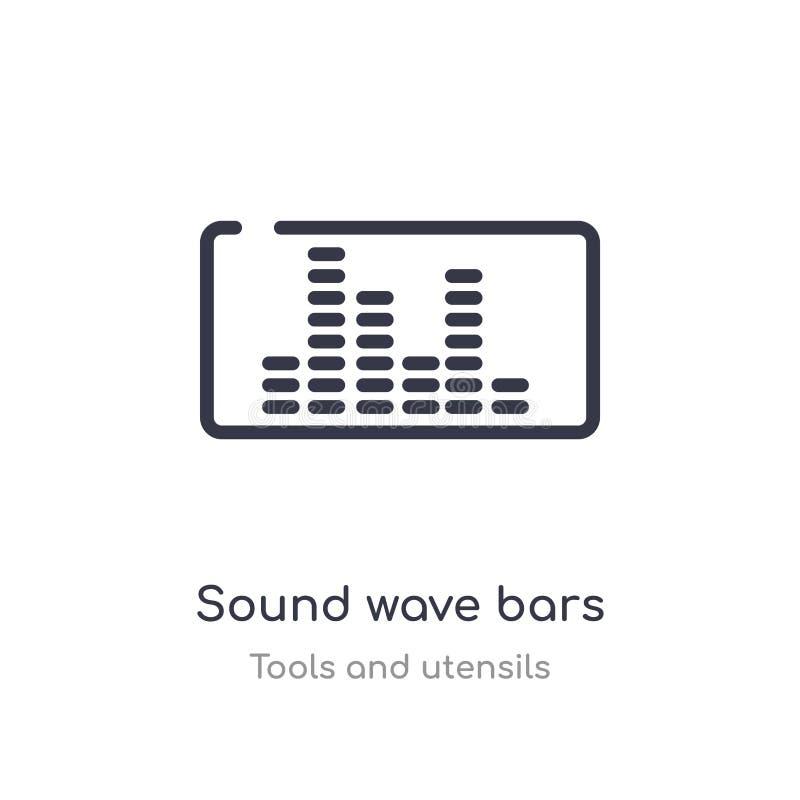 l'onde sonore barre l'icône d'ensemble ligne d'isolement illustration de vecteur de collection d'outils et d'ustensiles bruit min illustration stock