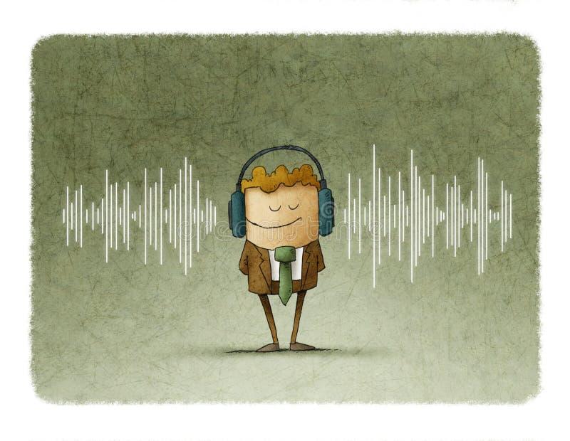 l'onde sonore et au milieu de ceci il y a un homme avec des écouteurs illustration de vecteur