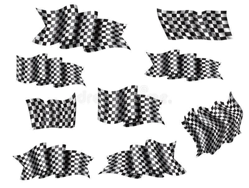 L'ondulation emballant l'icône du drapeau 3d pour la course folâtrent illustration stock