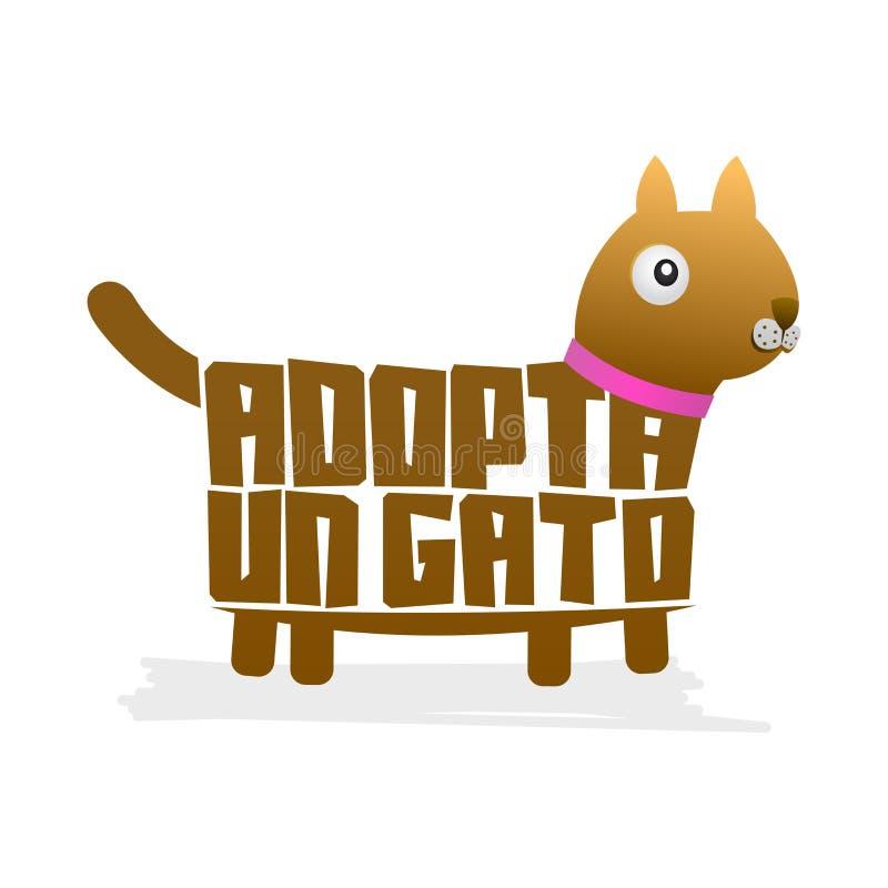 L'ONU Gato d'Adopta, adopte un vecteur de forme de chat de vecteur des textes d'Espagnol de chat, adoption d'animal familier illustration libre de droits