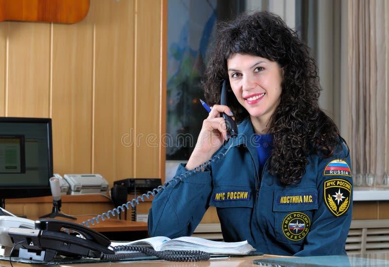 L'opérateur de la lutte anti-incendie photo libre de droits
